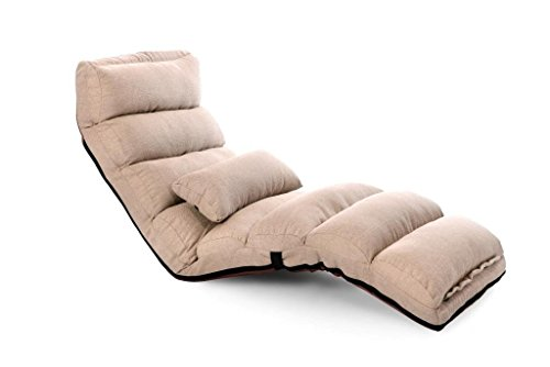 Porpora Relaxing Folding Futon Sofa and Comfortable Lounge Sofa, Beige Living Room Set Chaise