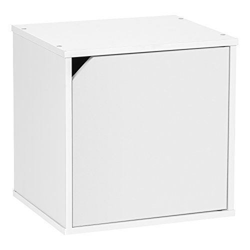 Bedside Unit (IRIS BAKU Modular Wood Cube Box with Door, White)
