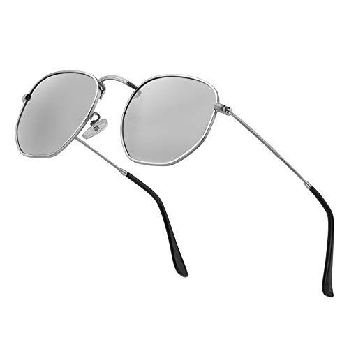 Modern Geometric Polarized Metal Slim Arms Neutral Colored Lens Hexagonal Sunglasses Men Women Square Small Vintage Frame Retro Round Mirrored Driving Shade Sun Glasses(Sliver Lens/Sliver Frame)