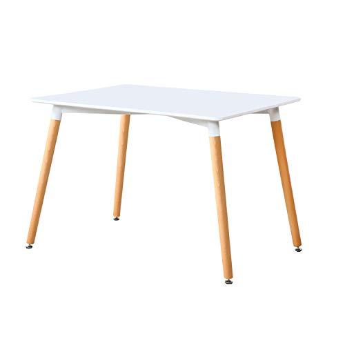 Adec - Nordika, Mesa de Comedor, Salon o Cocina, Color Blanco y Haya, Medidas: 120 cm (Largo) x 80 cm (Ancho) x 75 cm (Alto)