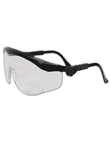 Side Shields - MCR SAFETY TK110 Tomahawk Wraparound Safety Glasses with Side Shields, 295829, Standard, Clear Lenses with Black Frame