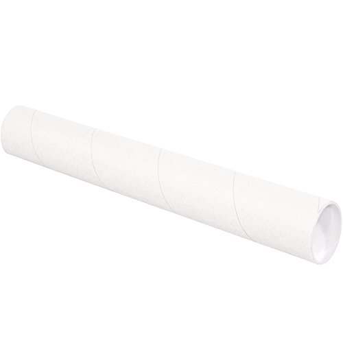 "Aviditi P3015W Mailing Tubes with Caps, 3"" x 15"", White (Pack of 24)"