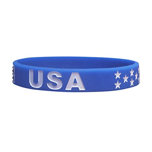 (PRETYZOOM USA American Flag Bracelet Silicone Rubber Wristbands Americanism Partriotic Spirit Fans Worldcup Holiday)