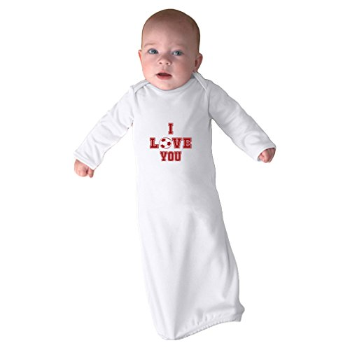 Cute Rascals I Love You Soccer Ball Heart Soccer Infant Baby Combed Ring-Spun Cotton Sleeping Gown - White, Gown Only by Cute Rascals