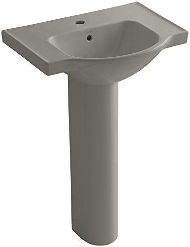 KOHLER K-5266-1-K4 Veer Pedestal Bathroom Sink with Single Faucet Hole, 24-Inch, Cashmere 1 K4 Cashmere Pedestal