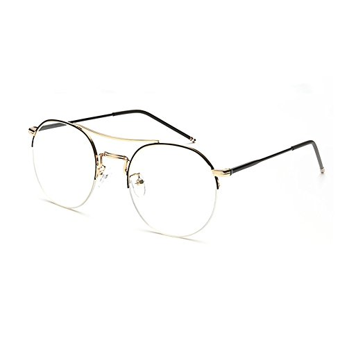 Espejo Gafas Marco YQ Y QY Color 3 Plano Simplicidad Retro Semicircular Exteriores 4 para Gafas Moda 10W8rXq04