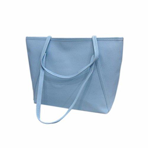 TPulling Weiche Art Und Weise Herbsttasche Tasche Eimer Tasche Einfache Größere Kapelle Leder Frauen Handtasche Hellblau