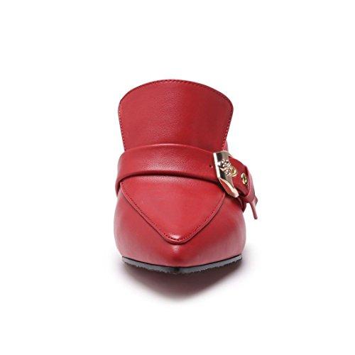 AIKAKA Red Gran Alto Tacón Sandalias Verano Zapatos Mujer Primavera Zapatillas de de Tamaño de OwZPqOxr