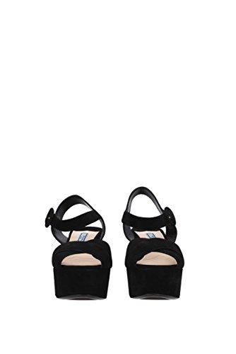 Prada Sandals Women - Suede (1XP882) UK Black hsCJSn5T