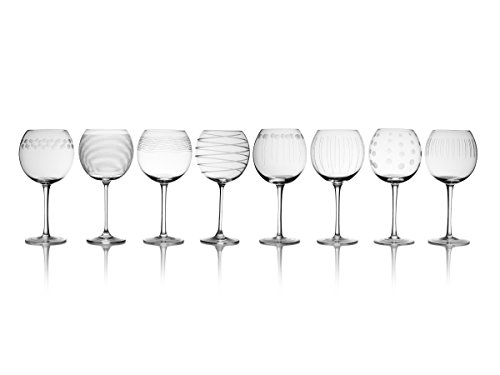 Etched Balloon Wine Glass - Mikasa Cheers Balloon Goblet Wine Glass, 24.5-Ounce, Set of 8