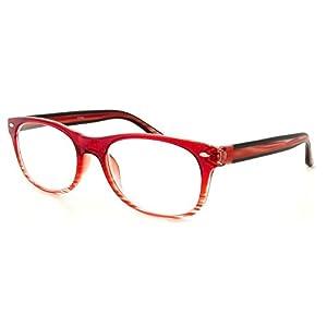 Calabria 764 Designer Wayfarer Reading Glasses in Red ; +0.50