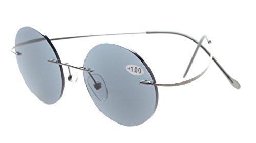 de sol 0 Ancho para sin de de lente 45mm Lente tiranio marco Gafas Gris hombres 75 lectura Eyekepper borde de 7Ft6Eg
