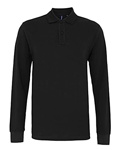 Asquith-Fox-Men's classic fit long sleeved polo-Knitted cuff collar poloshirt
