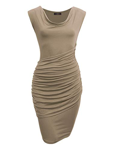 Made By Johnny MBJ WDR1186 Cowl Neck Sleeveless Pleats Detail Dress M Taupe