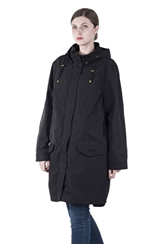 Infron IN FRONT Women Long Black Plus Size Hooded Anorak Coat with Detachable Quilted Lining (Quilted Lining)