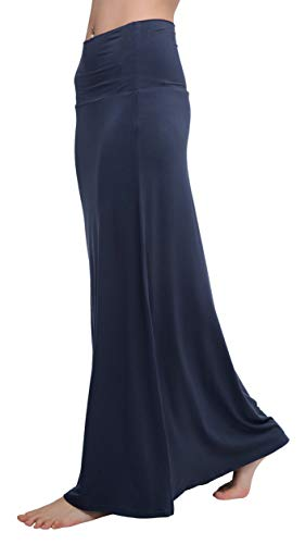 (Urban CoCo Women's Stylish Spandex Comfy Fold-Over Flare Long Maxi Skirt (XL, Navy Blue))