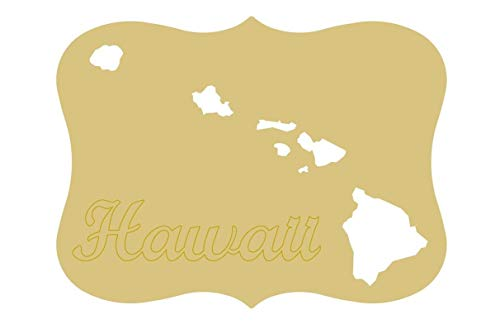 Hawaii Plaque Cutout Unfinished Wood Cutout Home Decor Vacation Spots Honolulu Door Hanger MDF Shape Canvas Style 1