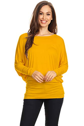 Casual Solid Dolman Sleeve Long Sleeve Knit Loose Fit Tunic top/Made in USA Mustard XL