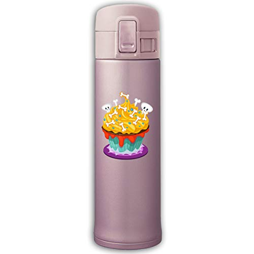 Stainless Steel Mug Skull Cupcake Bouncing Cover Insulation Vacuum Cup Bottle Thermos Mug Pink