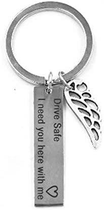 Rodite Stainless Steel Keychain with Angel Wing Pendant Car Keyring Drive Safe Key Ring for Man and Woman