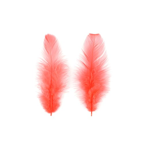 Zucker Loose Rooster Plumage White Dyed Feathers - 3-4'' - 1lb - Hot Orange by Zucker