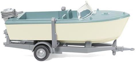 Wiking 009502 Motorboot auf Anhänger - creme/pastelltürkis (1:87)