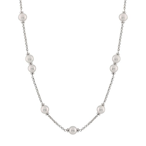 Tin Cup Station Sterling Silver Chain 8-9mm White Freshwater Cultured Pearls Princess Necklace with 18'' + 2'' Extender