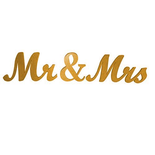 Love Decor Studio _ 1968 Gold Mr. & Mrs. Letters Wedding Table Decoration, freestanding Gold Mr and Mrs Signs for Sweetheart Table