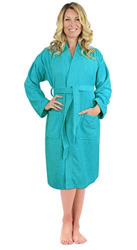 Luxurious Turkish Cotton Kimono Collar Super-Soft Terry Absorbent Bathrobes for Women (Aqua, Large)