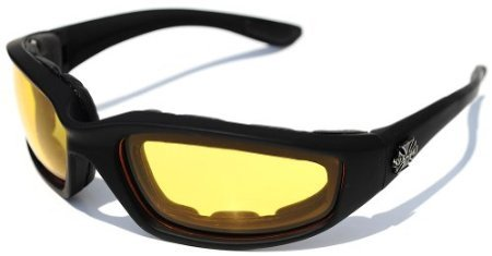3 Pairs of Choppers Glasses Padded Frame Clear Yellow Smoke Lense Block 100% UVB for Outdoor Activity - For Glasses Motorcycle Women