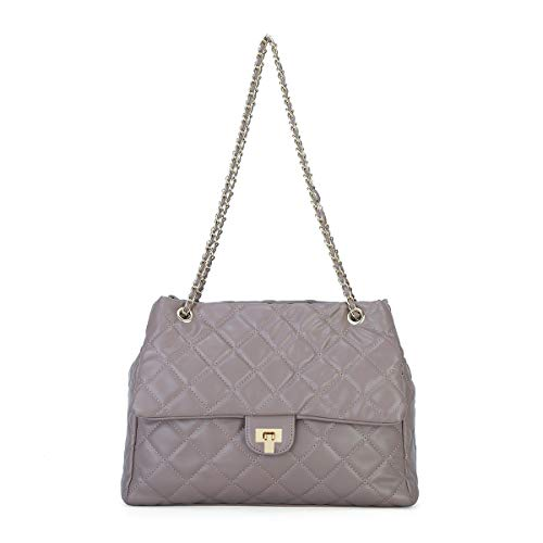 Fashion Women's Crossbody Bag Quilted Shoulder Purse for Girls PU Leather Handbag with Leather Golden Chain Strap ()