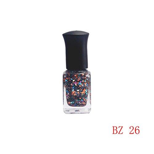 Price comparison product image Nail Art Polish,Putars Fashion 6ml Sequins Glitter Fingernail Glue Set Sequins Color Nail Polish (E)