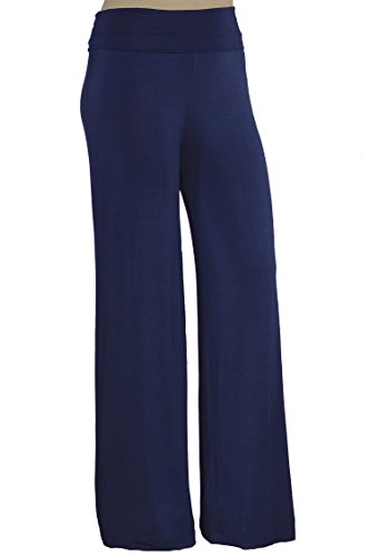 Stylzoo Women's Plus Size Premium Modal Rayon Softest Ever Palazzo Pants Petite Navy Blue 1X Solid Stretchy Knit Pants Made in USA with Premium Fabric Petite Navy Blue 1X 29 Inseam