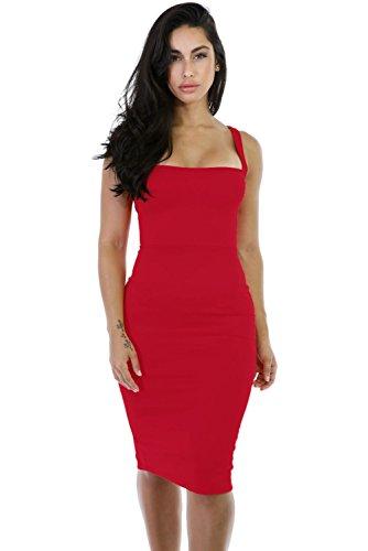 Rojo corset-style Back Lace Up Vestido De Bodycon Midi Club Wear TAMAÑO M UK 10–�?2