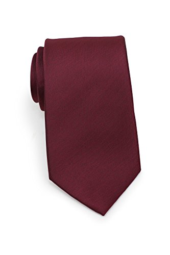 (Bows-N-Ties Men's Necktie Solid Color Herringbone Matte Microfiber Tie 3.1 Inches (Wine))