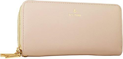 - B BRENTANO Vegan Double-Zipper Wallet Clutch with Removable Wrist Strap (Logo - Beige)