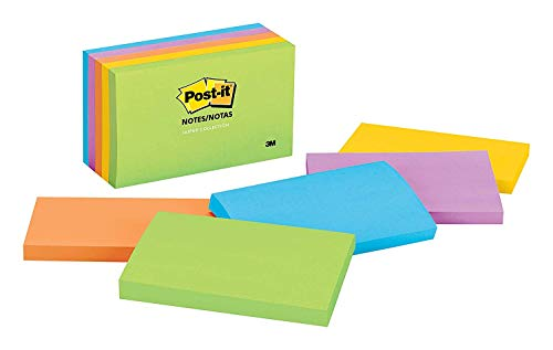 Post-its Notes, 3 in x 5 in, Jaipur Collection 3PD6N, 5 Pads/Pack, 4 Pack Bundle Bonus Sharpie Permanent Marker by Post-it (Image #1)
