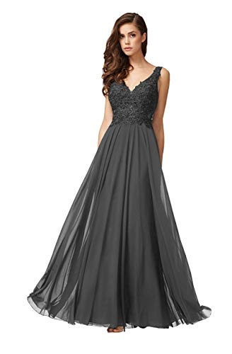 Women's Sexy Deep V-Neck Chiffon Evening Beaded Crystal Long Sleeveless Prom Dresses Ruched Lace Bodice A-Line Ball Gown (6 - Ruched Beaded Bodice