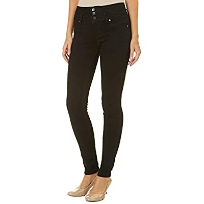 YMI High-Waist 3-Button Skinny Luxe Jeans, Black: Clothing