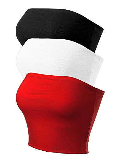 MixMatchy Women's Causal Strapless Cute Basic Solid Cotton Tube Top 3PACK - Black/White/Red S ()