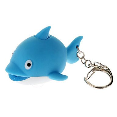(BuW Dolphin Shaped Pendant Keychain with LED & Sound, key fobs key lanyards keychain hook unique keychains)