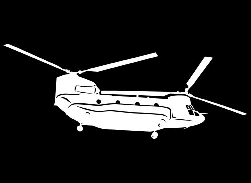 Large Detailed Boeing Chinook Helicopter Vinyl Decal White