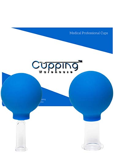 Cupping Warehouse Glass 2 Small Facial Professional Massage Set: Clear Glass with Silicone Bulb : Written Instructions Included (2SGLASS)