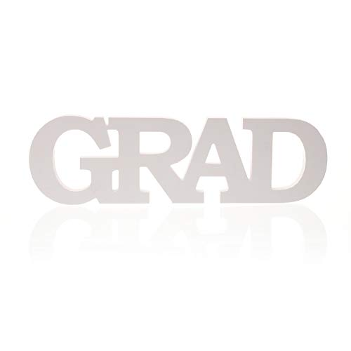(MOWO Wooden Letter Table Sign Grad for Graduation Party Decoration, White)