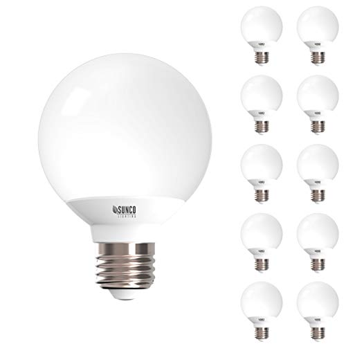 - Sunco Lighting 10 Pack G25 LED Globe, 6W=40W, Dimmable, 450 LM, 5000K Daylight, E26 Base, Ideal for Bathroom Vanity or Mirror - UL & Energy Star