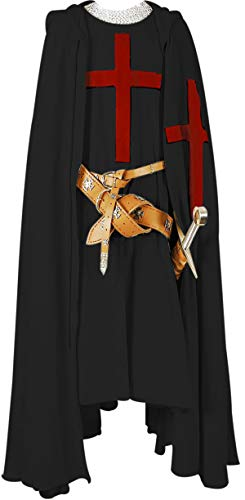 Armour Shop Medieval Knight Cloak Templar Surcoat Hooded Cap Crusader Cloak/Tunic Reenactment SCA Size-XL -