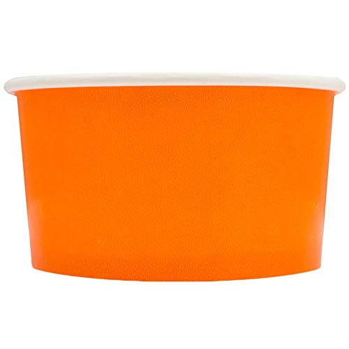 100 Count Orange Paper Ice Cream Cups - 4 oz Small Dessert Bowls - Comes In Many Colors & Sizes! Frozen Dessert Supplies