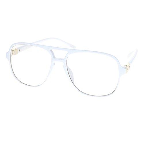 Mens Thin Plastic Nerdy Steve Urkel Large Clear Lens Eye Glasses - Frames Eyeglasses White