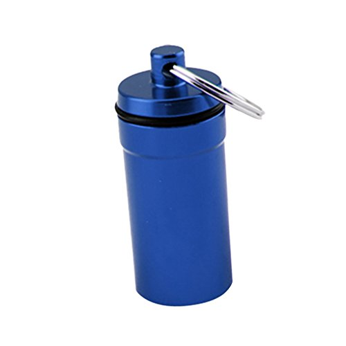 - Prettyia Pill Box Keychain Waterproof Single Chamber Stainless Steel Pill Organizer for Outdoor Travel Camping - Blue