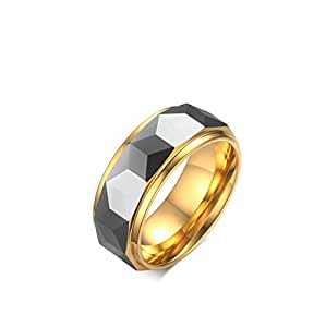 Design, Multi-faceted Polished Tungsten Steel Ring, TCR-043 8mm Size US 9